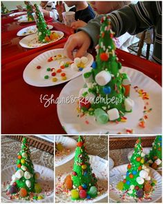 Decorated candy trees – sugar cones covered with green frosting & decorated with sprinkles, candies and marshmallows.