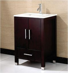 Anziano 24 Inch Espresso Bathroom Vanity w/ Quartz Top - The Vanity Store Inc.