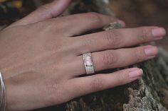 rose cut sapphire cuff ring