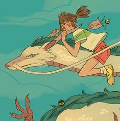 Spirited Away (千と千尋の神隠し) Studio Ghibli (Hayao Miyazaki) Anime Movie Studio Ghibli Art, Studio Ghibli Movies, Pretty Art, Cute Art, Sara Kipin, Film Anime, Anime Art, Chihiro Y Haku, Arte Sketchbook