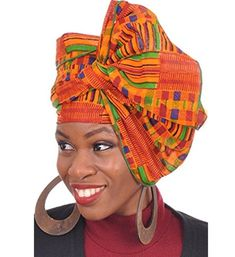 Dupsie's Kente African Print Head wrap with Green Trim One Size Multicolor: Kente African Print Head wrap/Scarf with Green Trim for Women. Note: This is not handwoven kente cloth, it is African made Kente print fabric African Hats, African Attire, African Wear, Henna Tattoos, Blue Fashion, African Fashion, African Style, Women's Fashion, African Beauty