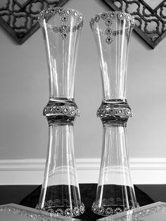 Items similar to Two Piece Set Flare Cylinder Vase Silver on Etsy Vase Centerpieces, Vases Decor, Wedding Centerpieces, Wedding Decorations, Tall Glass Vases, Cylinder Vase, Flower Ball, Sunburst Mirror, Color Schemes