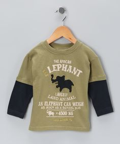 Green Elephant Layered Tee - Infant & Toddler    $17.99