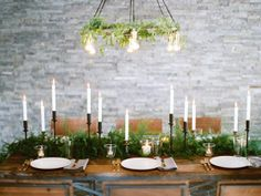 Ferns on the table orchids up high? Wedding table ideas
