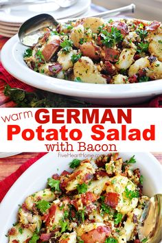 THE BEST German Potato Salad is a warm potato salad recipe featuring tender red potatoes and bacon in a tangy dressing for the ultimate summer side dish!   FiveHeartHome.com #germanpotatosalad