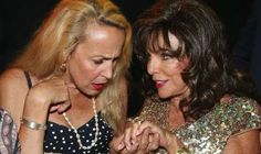 2013.July  Joan Collins was showing off a huge diamond ring at the society party in St Tropez with Jerry Hall