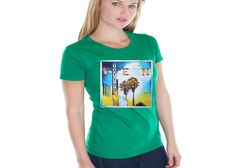 An art-to-apparel company, featuring exclusive artist's pieces as the illustrations for our apparel. Women's Green Shirt, Clothing Company, T Shirts For Women, Mens Tops, Beauty, Fun, Fashion, Fin Fun, Moda
