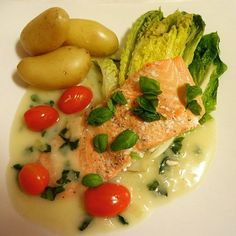 Edel's Mat & Vin : Ørret i basilikumsaus med dampet hjertesalat ♥