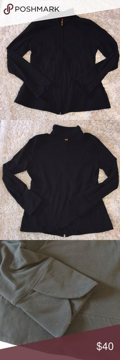Lucy Scalloped Sleeve/Back Zip Up Size L, excellent condition! Color is black. Item is fitted. True to size L. Feel free to ask any questions! No trades sorry, offers thru offer button only please! Also, if it is listed as for sale, IT IS AVAILABLE! Lucy Jackets & Coats