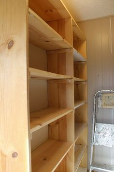 ~Ohio Thoughts~: Easy Shelves You Can Build Yourself Food Storage Shelves, Easy Shelves, Canned Food Storage, Pantry Shelving, Pantry Storage, Built In Shelves, Diy Storage, Kitchen Pantry Design, Kitchen Layout