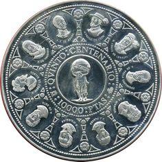 10.000 Pesetas 1991 Vº Centenario. Cincuentín plata. Centenario, Monet, Coins, Silver, Door Bells, Souvenirs, Rooms, Money
