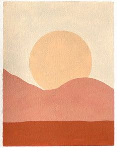 simple painting of the sunset with warm tones Sun Painting, Neutral Art, Design Art, Graphic Design, Art Inspo, Sculptures, Poster, Mixed Media, Printmaking