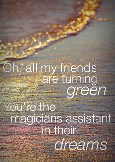 Vance Joy - Riptide lyrics Oh, all my friends are turning green, you're the magicians assistant in their dreams. Love, lyrics, music, summer, quotes