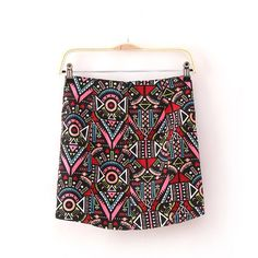 Lins 欧美 2013年春夏季新款民族风碎花图案雪纺拉链短包裙-淘宝网
