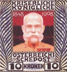 Commemorative stamp for the 60th Diamond Jubilee of Emperor Franz Joseph of Austria, by Koloman Moser, a noted Jugendstil artist.