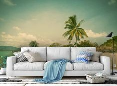 Tree Wallpaper Mural, Scenery Wallpaper, Wallpaper Ideas, Nature Wallpaper, Beach Wall Murals, Tree Wall Murals, 3d Light, Light Blue, Green Beach