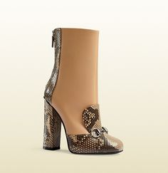 Gucci Python & Leather Horsebit Ankle Boots; $1,595.00