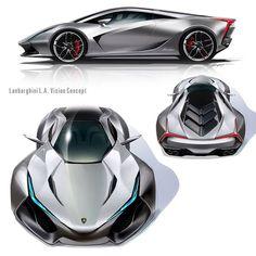 Multiple views of the Lamborghini LA Vision Concept by Daisuke Iguchi – Car Racing & Car Classic Lamborghini Concept, Lamborghini Cars, Ferrari 458, Car Design Sketch, Car Sketch, Exotic Sports Cars, Futuristic Cars, Car Drawings, Future Car