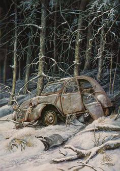 Dick Twinney -  The Edge of the Forest  1950s 2CV Saloon & Badgers