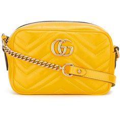 Gucci Marmont 2.0 Handbag (£550) ❤ liked on Polyvore featuring bags, handbags, shoulder bags, yellow, man bag, yellow crossbody purse, crossbody shoulder bags, cross-body handbag and handbags crossbody