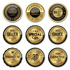 Seal gold badges and labels premium qual...   Premium Vector #Freepik #vector #ribbon #vintage #sale #label
