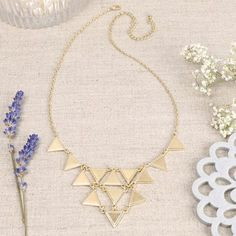 Gold Geometric Triangle Necklace at lisaangel.co.uk