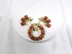 Faux Goldstone Brooch and Clip On Earring Set by KatsCache on Etsy