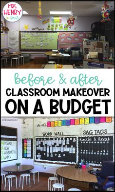 Tons of pics! From Farmhouse Classroom Decor Makeover! Tons of pics! Esl Classroom, Elementary Classroom Themes, Math Classroom Decorations, Kindergarten Classroom Decor, Middle School Classroom, Classroom Supplies, Classroom Ideas, Classroom Design, Themes For Classrooms