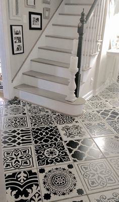 I stenciled my hallway ceramic tiles to add a sophisticated style trend to my plain tile floor. I used several stencil patterns to create the look of encaustic cement tiles. The picture does not due this artistic DIY project justice. Use porch and pati Painting Tile Floors, Painting Concrete, Painted Floors, Painted Tiles, Painting Over Tiles, Faux Painting, Porch And Patio Paint, Diy Patio, Patio Ideas