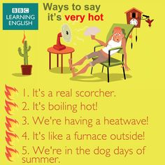 "Ways to say ""It's very hot"""