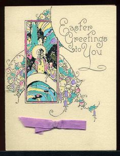 Vintage 1920's Art Deco Motto Easter Greeting Card | eBay