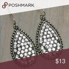 Clear Rhinestone Teardrop Earrings Adorable Silver & Clear Rhinestone Earrings. Jewelry Earrings