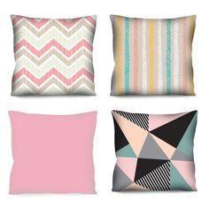 Kit com 4 Almofadas Geométricas Rosa 42x42 cm - Decoração industrial E Commerce, Throw Pillows, Bed, Design, Products, Decorative Objects, Block Prints, Colors, Relaxer