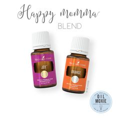 """We at Oil Moxie call this the """"Happy Momma"""" blend, but maybe we should have nicknamed it the """"Happy People"""" blend! I like to diffuse these two oils (2 drops Joy, 4 drops Orange) or make a roll-on with them (10 ml roller bottle + 5-10 drops Joy + 7-14 drops Orange + fill the remainder of the bottle with carrier oil). I roll this on the wrists, back of the neck, behind the ears, and/or over the heart. *Joy and Orange are photosensitive."""