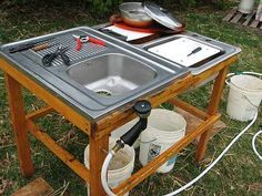I love this butchering station, it's fantastic for poultry and rabbits. Wouldn't be too hard to come up with something similar for larger animals, either.
