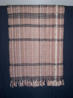100% wool Lap Blanket in muted browns, with one strand of handspun cream wool