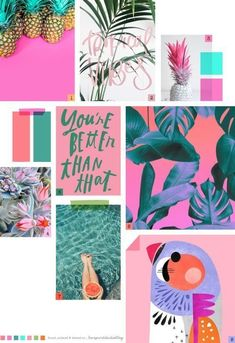 A very tropical yet simple concept board. Very pretty and straightforward. Web Design, Website Design, Fashion Design Inspiration, Color Inspiration, Moodboard Inspiration, Inspiration Boards, Tropical Colors, Tropical Vibes, Tropical Design