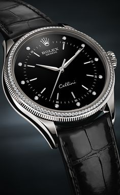 The Rolex Cellini Time in 18 ct white gold with a double bezel set with 96 diamonds, and a fluted, black lacquer dial set with 11 diamonds. This model reinterprets the timeless codes of classic watchmaking with an elegant modernity.  #RolexOfficial