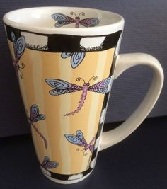 "Dragonfly ""Bug Me"" Tall Coffee Mug Cup by Alicia Tormey Designs"