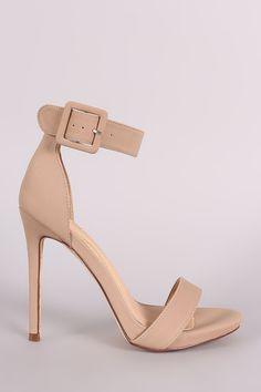 Nubuck Buckled Ankle Strap Stiletto Heel