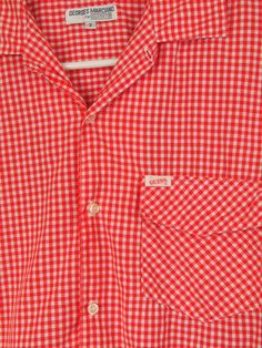 7f4fa6b011006d GUESS GEORGES MARCIANO designer Red White GIngham Shirt Men s short sleeve  size large - extra large