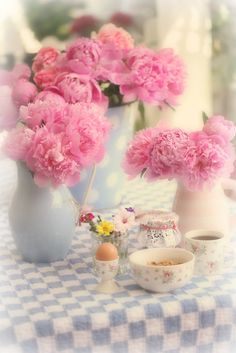 Pink peonies and a cup of tea - by Maria Starzyk