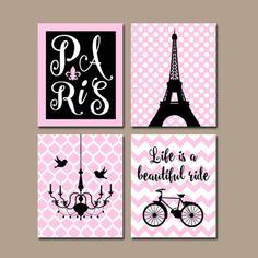 PARIS Wall Art, CANVAS or Prints Eiffel Tower Artwork, Pink Black Girl Nursery Wall Art, Girl Bedroom Pictures, Set of 4 Chandelier Bicycle