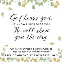 "We all have things we can't seem to get over. You've listened to other's advice. You've prayed for God to take it away. You've tried to heal but keep ending up in the same place.  CLICK to download ""8 Scripture Cards to Replace Your Pain with His Promises"" as a tool to help you embrace His joy and the power of the Holy Spirit."