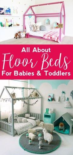 Floor Beds for Babies & Toddlers - all crafty things Baby Floor Bed, Toddler Floor Bed, Diy Toddler Bed, Toddler Rooms, Floor Beds For Toddlers, Bed For Baby, Toddler Bedroom Ideas, Toddler House Bed, Diy Bett