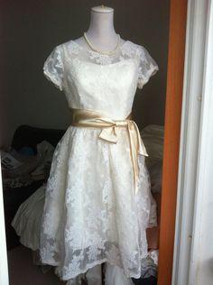 Vintage Lace Wedding Dress Bridal Gown Cap Sleeves Knee Length Short Plus Size Wedding Dress Champagne Satin Sash Bridesmaid Dress. $380.00, via Etsy.