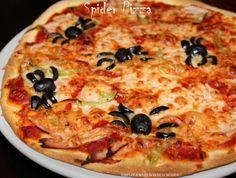 spider pizza Vegetable Pizza, Tapas, Spider, Vegetables, Halloween, Food, Recipe, Spiders, Veggies
