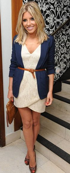 Love this! The blazer over a dress...