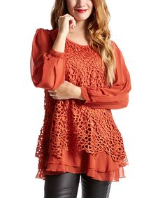 Look at this Rust Floral Overlay Silk-Blend Tunic on #zulily today!