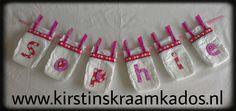 Luier naamslinger roze/Diaper Name Garland Pink
